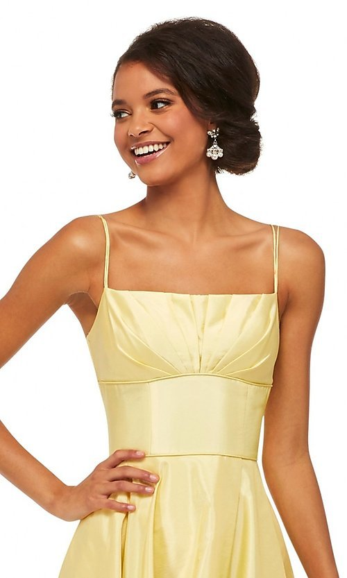 Image of Sherri Hill long empire-waist prom dress with pockets. Style: SH-52602 Detail Image 5