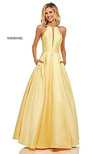 Image of long Sherri Hill high-neck a-line prom dress. Style: SH-52583 Front Image