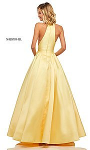 Image of long Sherri Hill high-neck a-line prom dress. Style: SH-52583 Back Image