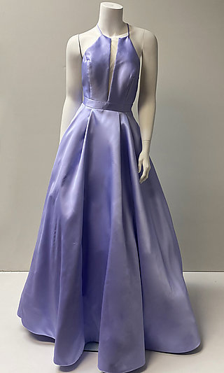 Long High-Neck Prom Ball Gown with Pockets