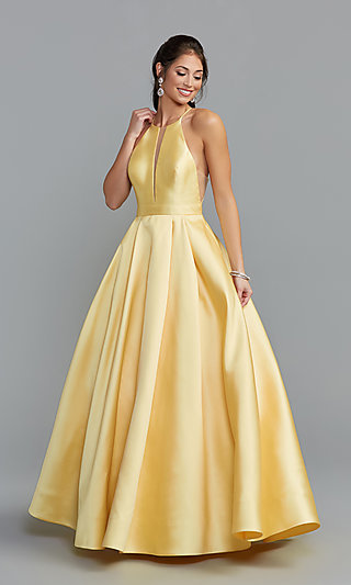 Sherri Hill Long High-Neck A-Line Prom Dress