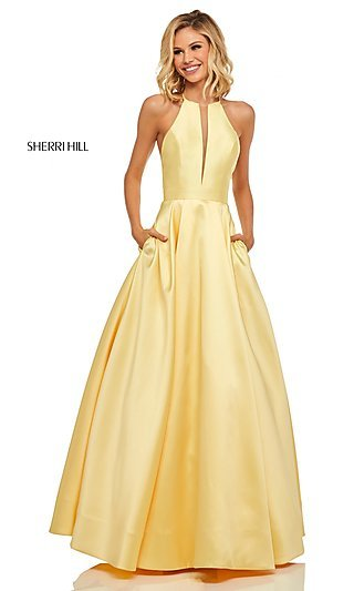 Long Sherri Hill High-Neck A-Line Prom Dress