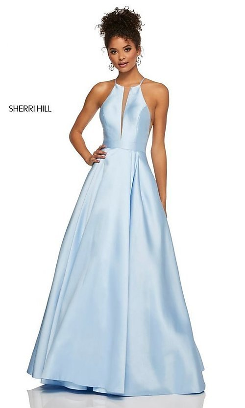 Image of long Sherri Hill high-neck a-line prom dress. Style: SH-52583 Detail Image 8