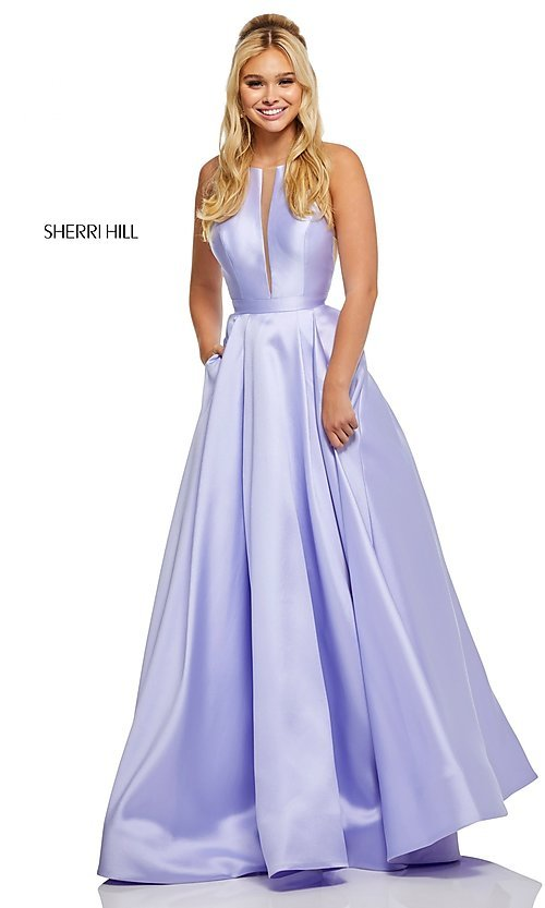 Image of long Sherri Hill high-neck a-line prom dress. Style: SH-52583 Detail Image 4