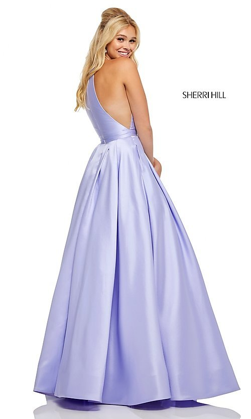 Image of long Sherri Hill high-neck a-line prom dress. Style: SH-52583 Detail Image 5