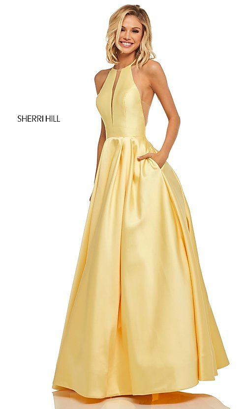 Image of long Sherri Hill high-neck a-line prom dress. Style: SH-52583 Detail Image 3