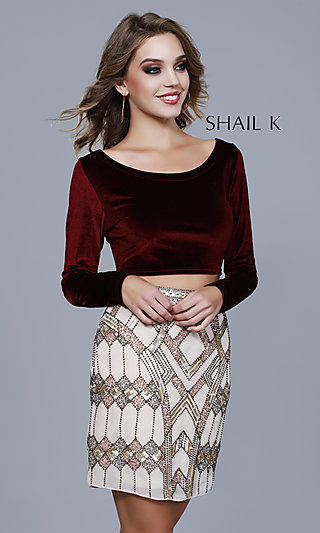 Scoop-Neck Homecoming Dress with a Beaded Skirt