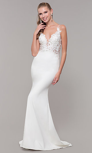 Long Mermaid-Style V-Neck Prom Dress with Embroidery