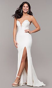 Image of strapless mermaid-style long prom dress with lace. Style: ZG-31317 Front Image