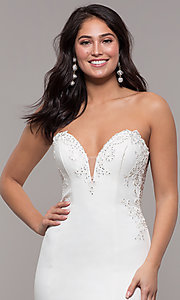 Image of strapless mermaid-style long prom dress with lace. Style: ZG-31317 Detail Image 1