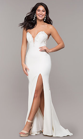 Strapless Mermaid-Style Long Prom Dress with Lace