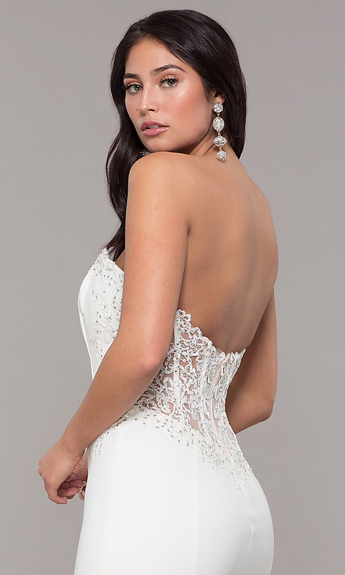 Image of strapless mermaid-style long prom dress with lace. Style: ZG-31317 Detail Image 2