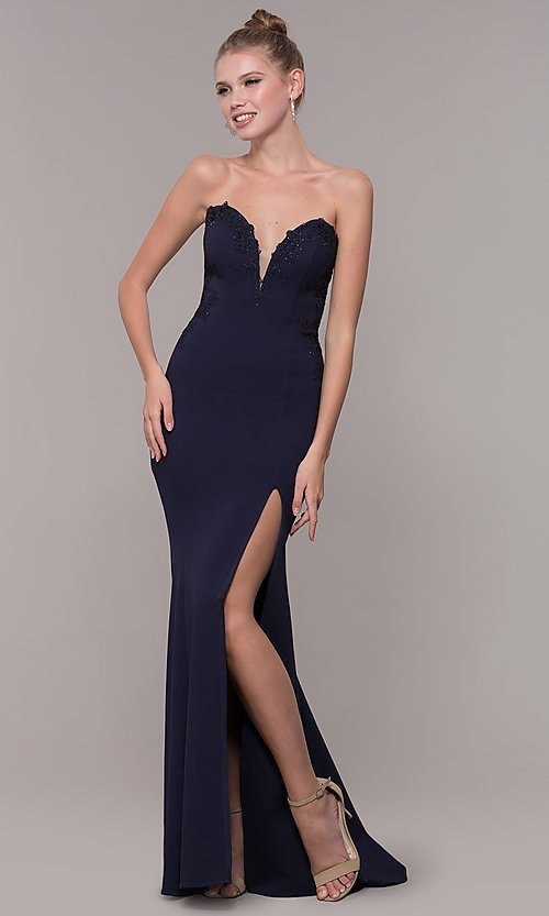 Image of strapless mermaid-style long prom dress with lace. Style: ZG-31317 Detail Image 4