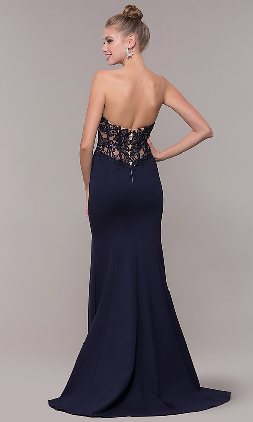 Image of strapless mermaid-style long prom dress with lace. Style: ZG-31317 Back Image