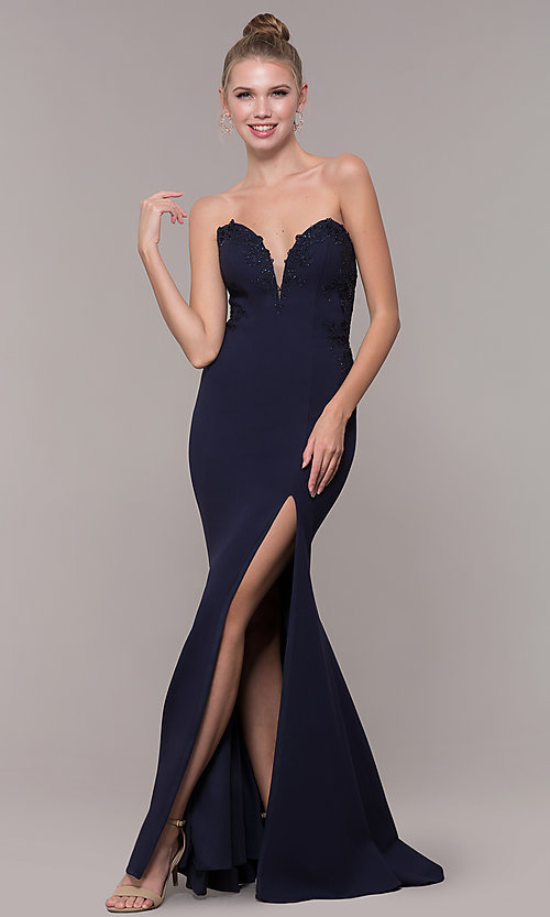 Image of strapless mermaid-style long prom dress with lace. Style: ZG-31317 Detail Image 3