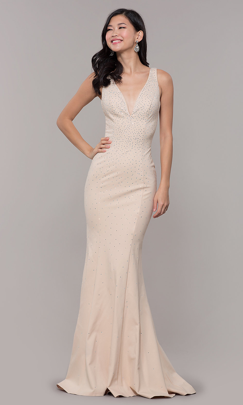 Long Nude V-Neck Prom Dress with Beaded Bodice