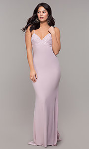 Image of long Zoey Grey v-neck empire-waist formal gown. Style: ZG-31332 Front Image