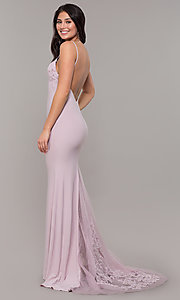 Image of long Zoey Grey v-neck empire-waist formal gown. Style: ZG-31332 Back Image