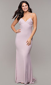 Image of long Zoey Grey v-neck empire-waist formal gown. Style: ZG-31332 Detail Image 3