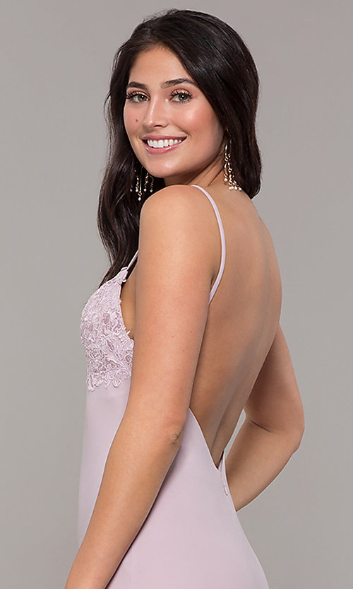 Image of long Zoey Grey v-neck empire-waist formal gown. Style: ZG-31332 Detail Image 2