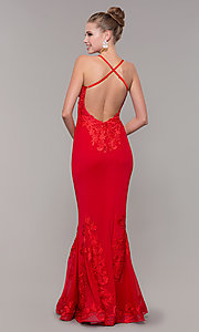 Image of long open-back mermaid formal dress by Zoey Grey. Style: ZG-31333 Back Image