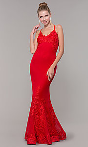 Image of long open-back mermaid formal dress by Zoey Grey. Style: ZG-31333 Detail Image 3