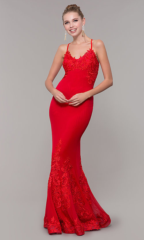 Image of long open-back mermaid formal dress by Zoey Grey. Style: ZG-31333 Front Image