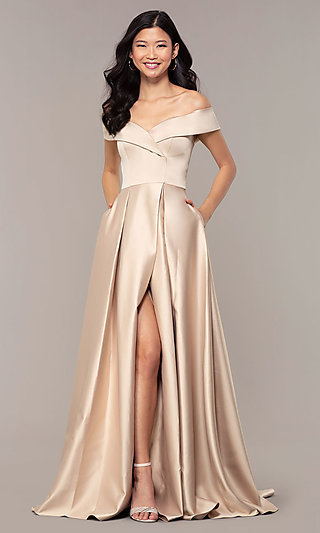 Satin Prom Dress with an Off-the-Shoulder Neckline