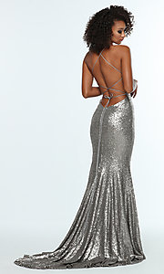 Image of Zoey Grey sequin formal corset prom dress. Style: ZG-31435 Detail Image 7