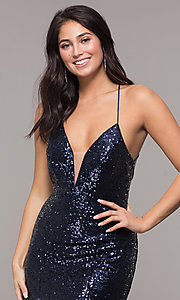 Image of Zoey Grey sequin formal corset prom dress. Style: ZG-31435 Detail Image 1