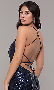 Image of Zoey Grey sequin formal corset prom dress. Style: ZG-31435 Detail Image 2