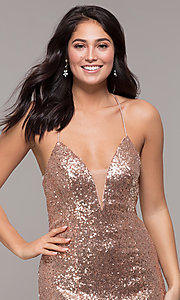 Image of Zoey Grey sequin formal corset prom dress. Style: ZG-31435 Detail Image 5