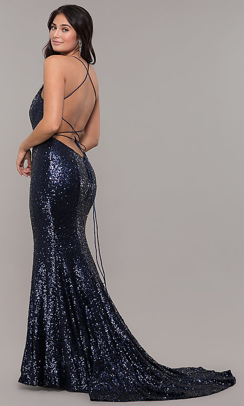 Image of Zoey Grey sequin formal corset prom dress. Style: ZG-31435 Back Image