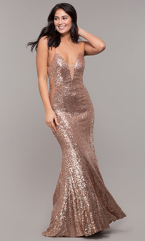 Image of Zoey Grey sequin formal corset prom dress. Style: ZG-31435 Detail Image 3