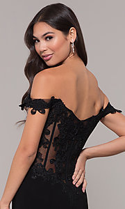 Image of long sheer-back jersey prom dress with embroidery. Style: ZG-PL-32801 Detail Image 2
