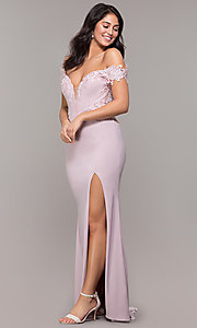 Image of long sheer-back jersey prom dress with embroidery. Style: ZG-PL-32801 Front Image