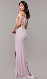 Image of long sheer-back jersey prom dress with embroidery. Style: ZG-PL-32801 Back Image