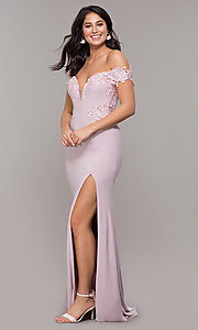 Image of long sheer-back jersey prom dress with embroidery. Style: ZG-PL-32801 Detail Image 3
