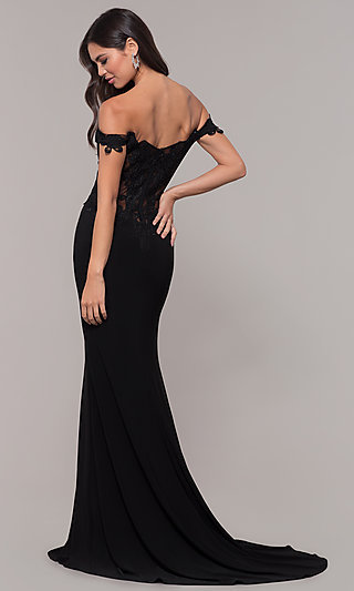 Long Sheer-Back Jersey Prom Dress with Embroidery