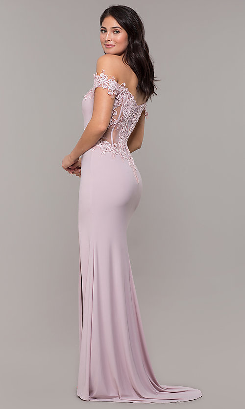 Image of long sheer-back jersey prom dress with embroidery. Style: ZG-PL-32801 Detail Image 5