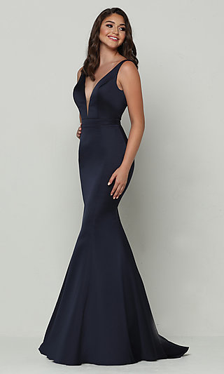 Satin Long Mermaid Prom Dress with Plunging V-Neck