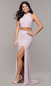 Image of high-neck two-piece long prom dress with train. Style: ZG-PL-32848 Detail Image 3