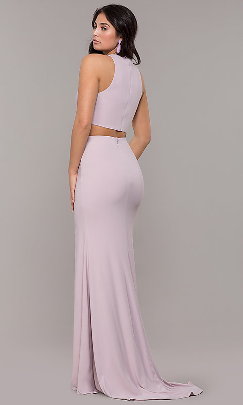 Image of high-neck two-piece long prom dress with train. Style: ZG-PL-32848 Back Image