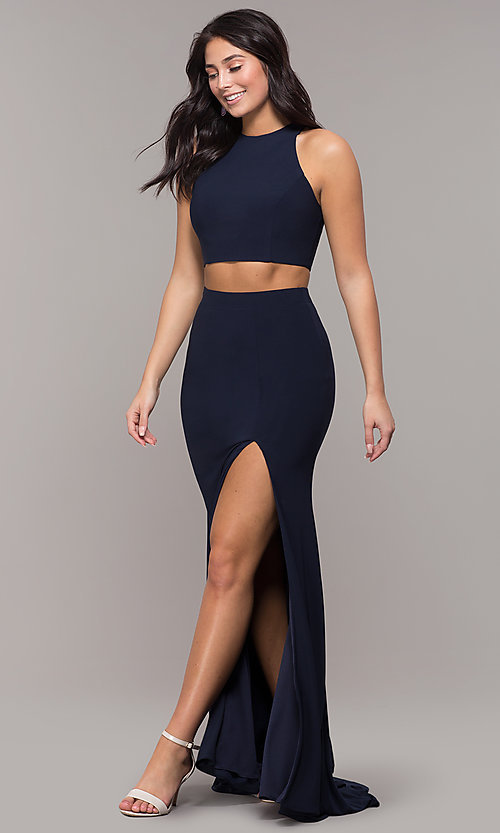 Image of high-neck two-piece long prom dress with train. Style: ZG-PL-32848 Detail Image 4