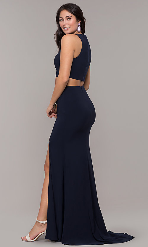 Image of high-neck two-piece long prom dress with train. Style: ZG-PL-32848 Detail Image 5
