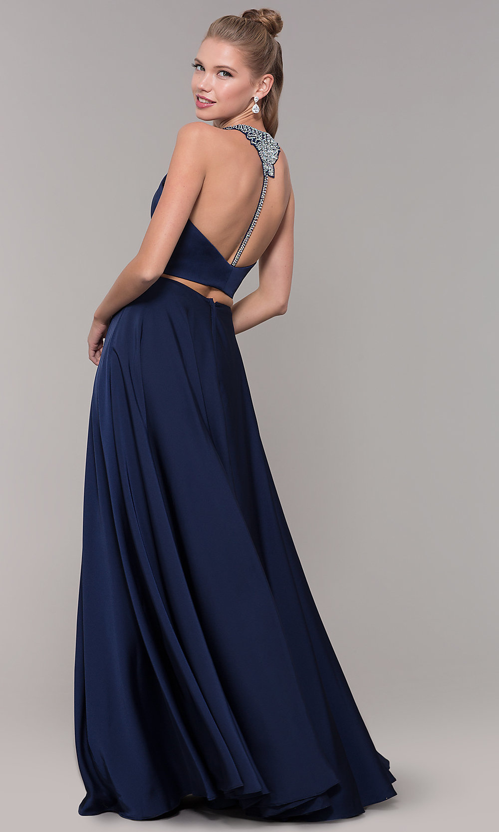 e385f282b48 Long Satin T-Back Two-Piece Prom Dress with Beading