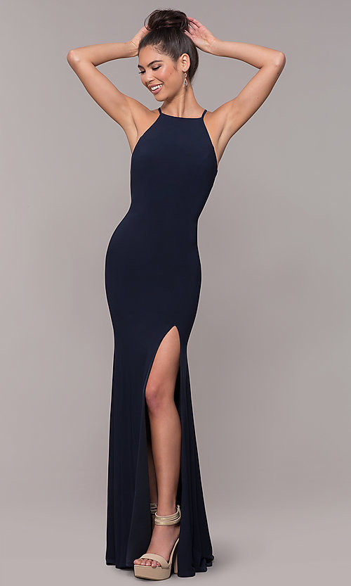 Long Formal High Neck Prom Dress With