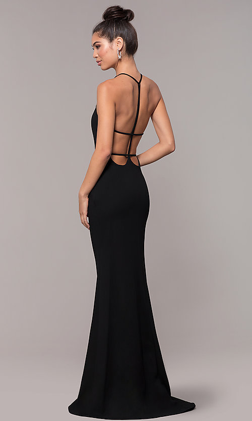 Backless Long Black Prom Dress With Illusion V Neck