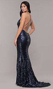 Image of mermaid-style long v-neck sequin formal dress.  Style: ZG-PL-32871 Front Image