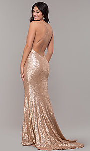 Image of mermaid-style long v-neck sequin formal dress.  Style: ZG-PL-32871 Detail Image 4